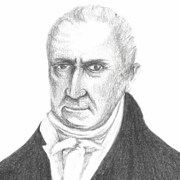 A drawing in pencil of Alessandro Volta | www.electronics-radio.com