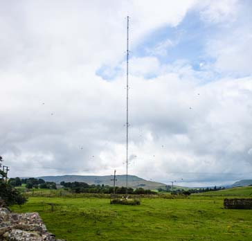 A medium wave broadcast transmitter antenna used for relatively local coverage using ground wave propagation