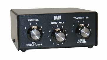 Un típico sintonizador de antena de banda de radioaficionado HF (MFJ-901B)