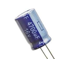 Leaded aluminium electrolytic type of capacitor showing the negative connection marking.
