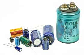 A selection of leaded aluminium electrolytic capacitors small and large