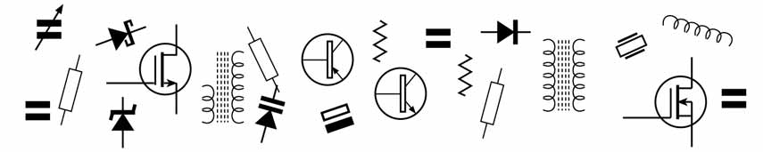 selection of common circuit symbols
