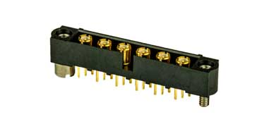 Multiway PCB connector with RF coaxial connections