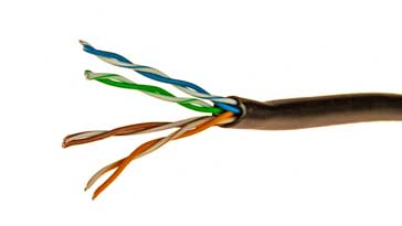 ethernet cable (cat 5e) showing the internal twisted pair wires