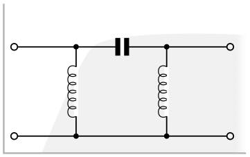 3 pole π LC RF high pass filter with high pass filter function shown behind