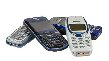 A selection of old cellphones that were used with the 2G GSM cellular system