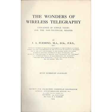 Front page of Fleming's book: The Wonders of Wireless Telegraphy