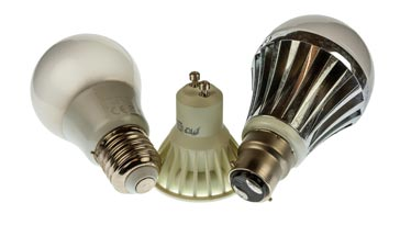 LED light bulbs used for domestic lighting