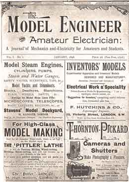 The front page from Model Engineer & Amateur Electrician January 1898 which included the article from Leslie Miller