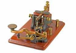 Camelback Morse key with Telegraph Sounder