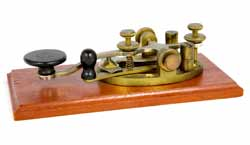 A typical steel lever Morse key - manual keys like this are often called a straight Morse key or hand key