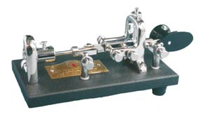 A modern presentation Vibroplex semi-automatic mechanical bug key style of Morse key.