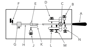 Diagram of the basic construction of a Vibroplex style mechanical bug key.