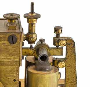 Electromagnet mechanism on a Morse telegraph inker