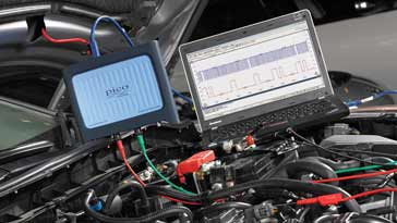 USB PC based oscilloscope used to test an automotive engine
