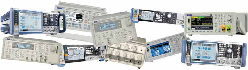 Selection of signal generators including arbitrary waveform generator, RF signal generator, vector signal generator, function generator
