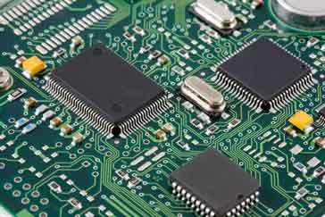 SMT components on a printed circuit board