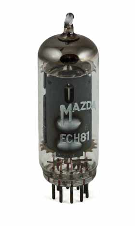 Image of a Mazda ECH81 triode heptode valve / tube, normally used as a mixer.
