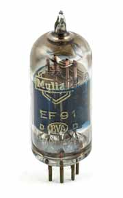 Image of a Mullard EF91 pentode valve / tube, normally used as a high gain amplifier.
