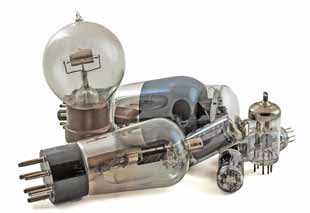 Image a selection of vacuum tubes / thermionic valves including R-type, 6L6, ECC83, 6CL6, etc